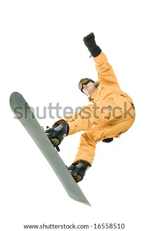 Snowboarder over white - stock photo