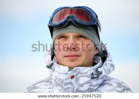 Snowboarder portrait - stock photo