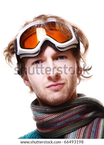 Snowboarder portrait isolated over white - stock photo