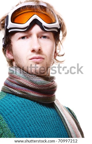 Snowboarder portrait isolated over white