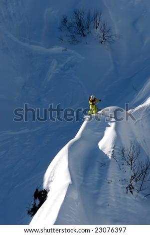 snowboarder ride on high mountain - stock photo