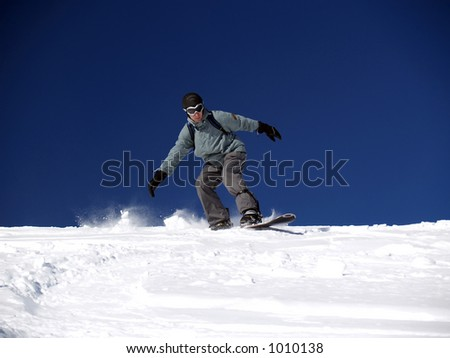 Snowboarder ride out the slope [1]
