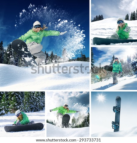 snowboarder theme collage composed of a few different images - stock photo