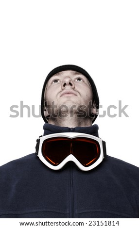 Snowboarder with mask isolated on white