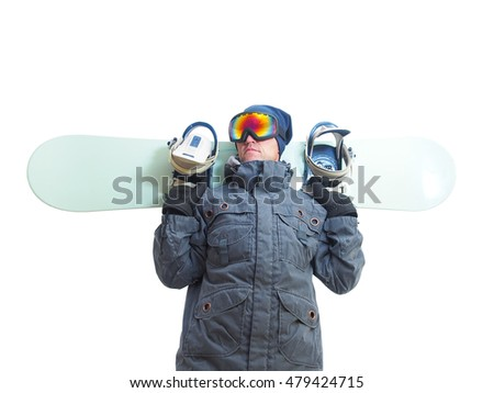 Snowboarder with snowboard deck. Isolated on a white background.