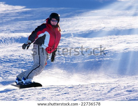 Snowboarder woman - extremely contralight - stock photo