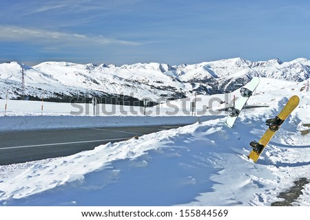 Snowboarding in Andorra Country. Pyrenees