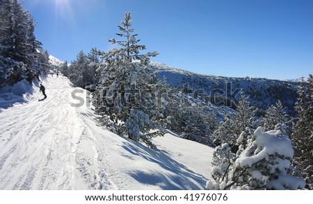Snowboarding in Bulgaria. Alpine ski resort Borovets - stock photo