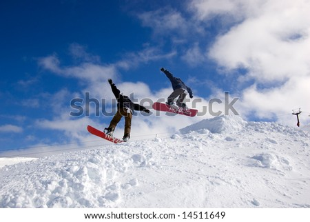 Snowboarding jump - stock photo