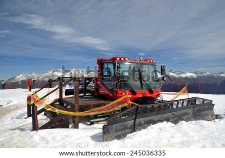 Snowcat on top of Rosa Plateau, Krasnaya Polyana, Sochi, Russia - stock photo