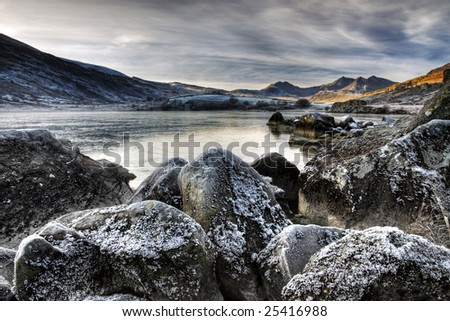 Snowdon on a winters day - stock photo