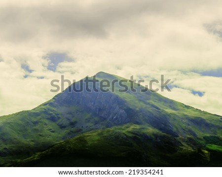 snowdonia national park gqynedd wales snowdon in distance - stock photo