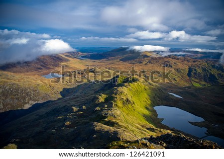 Snowdonia. View from Crib Goch Mountain, Snowdonia National Park, North Wales, England, United Kingdom, Great Britain, UK, Eng, GB, Europe. - stock photo