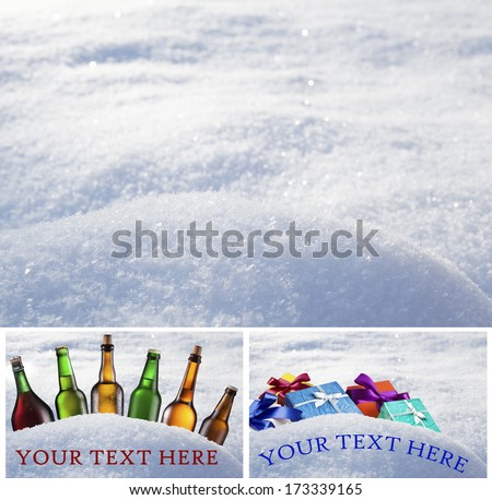 Snowdrift in winter day. Front pick out by means of clipping path. (Examples of the bottom pictures.) Background is blurred. - stock photo