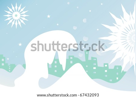 snowdrift, stars, city, buildings and winter nigh.