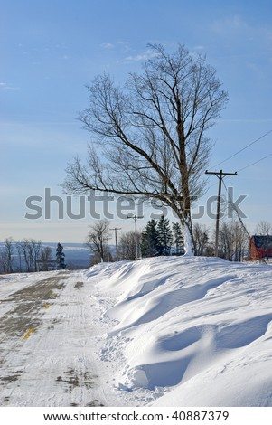 Snowdrifts on Road