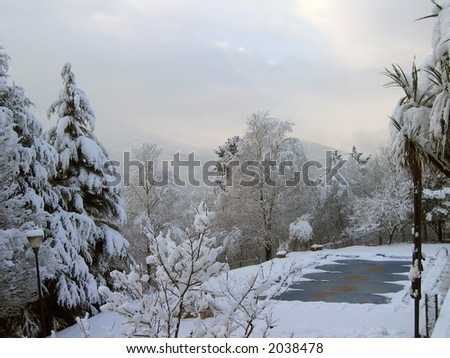 Snowed landscape and freezed swimming pool - stock photo