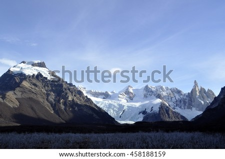 Snowed mountains and vegetation
