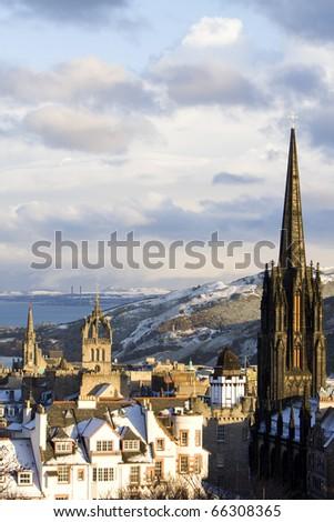 Snowfall in Edinburgh - stock photo