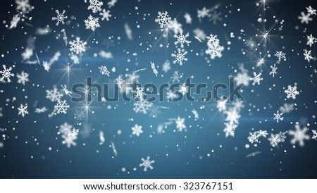 snowfall on blue. Computer generated christmas background