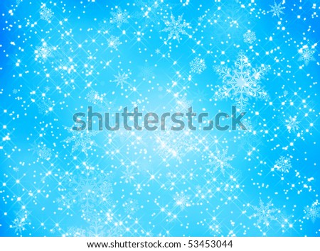 Snowflake and star pattern on blue