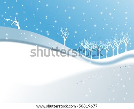 Snowflake and trees, with snow illustration