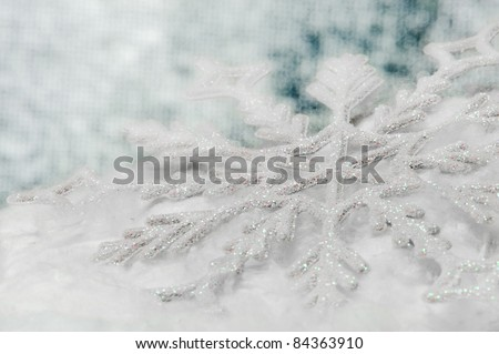 Snowflake big close up. Bokeh a background. Toning is blue - stock photo