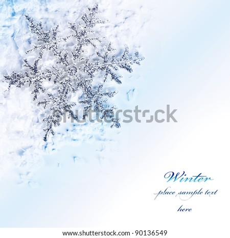 Snowflake blue decorative border, beautiful blue cold frozen snow background, Christmas tree ornament and decoration, winter holidays abstract frame with text space - stock photo