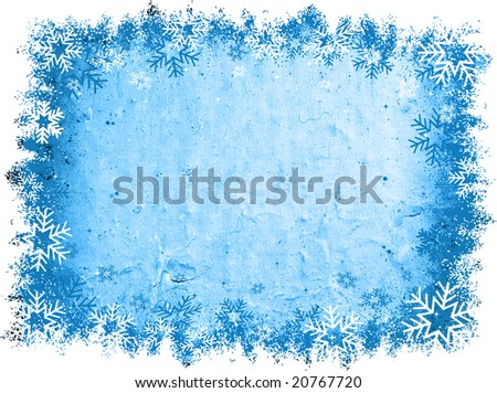 Snowflake border on grunge background