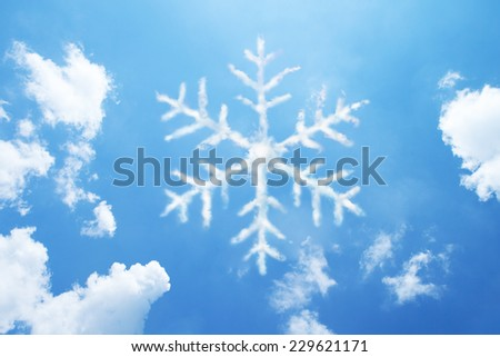 Snowflake clouds shaped. - stock photo