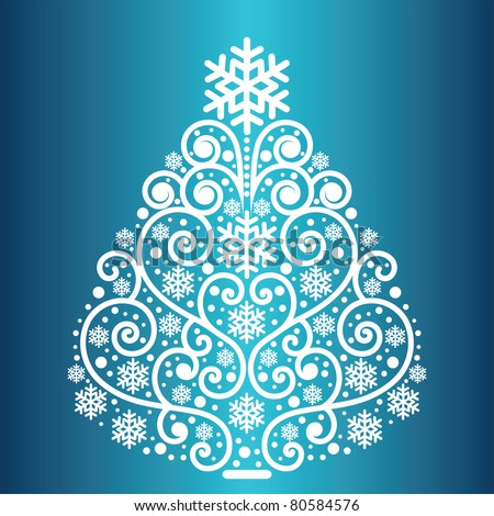 Snowflake coil christmas tree jpeg - stock photo