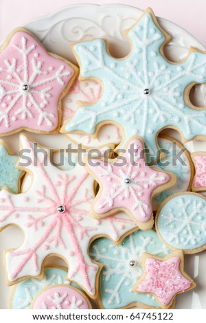 Snowflake cookies - stock photo