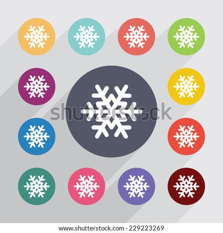 snowflake, flat icons set. Round colourful buttons - stock photo