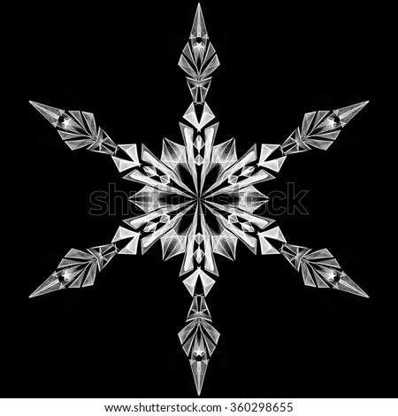 Snowflake icon graphic sign symbol drawing. White snowflake object isolated on black background. High resolution detailed graphic illustration flake of snow