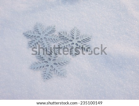 snowflake in snow - stock photo