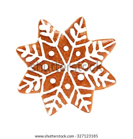 Snowflake Isolate. Christmas Cookie Isolated on White Background. Gingerbread Xmas Food - stock photo