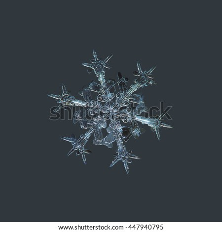 Snowflake isolated on dark cyan background: macro photo of real snow crystal, captured on dark woolen fabric in diffused light. This is medium size stellar dendrite snowflake with sharp, ornate arms. - stock photo