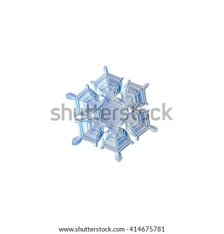 Snowflake isolated on white background: macro photo of real snow crystal, captured on glass surface with LED back light. This is medium size snowflake with amazing relief and symmetry.