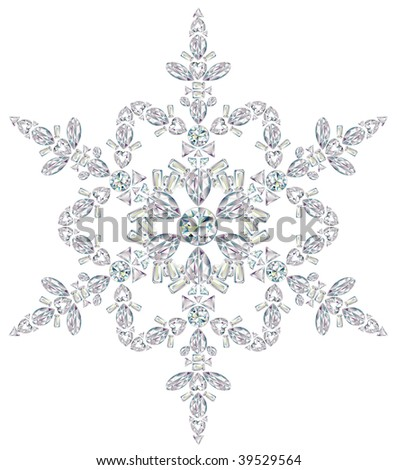 Snowflake made from different cut diamonds. - stock photo