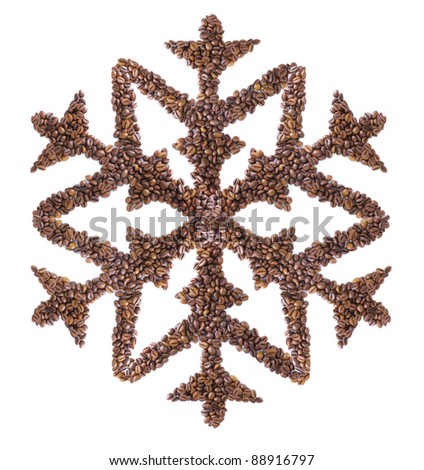 snowflake made of coffee beans