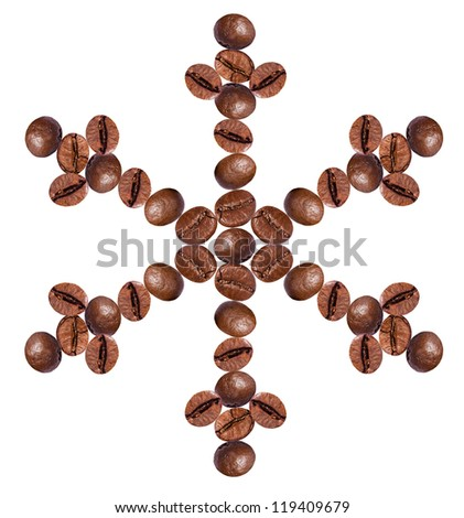 Snowflake made of coffee beans, isolated on white - stock photo