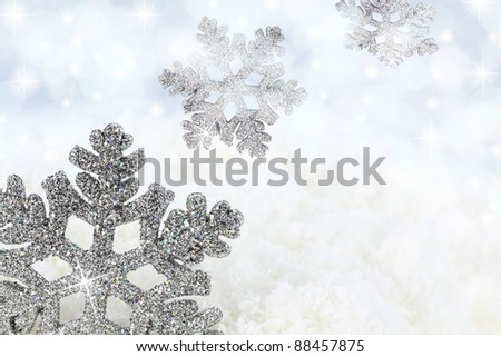 Snowflake on the snow background - stock photo