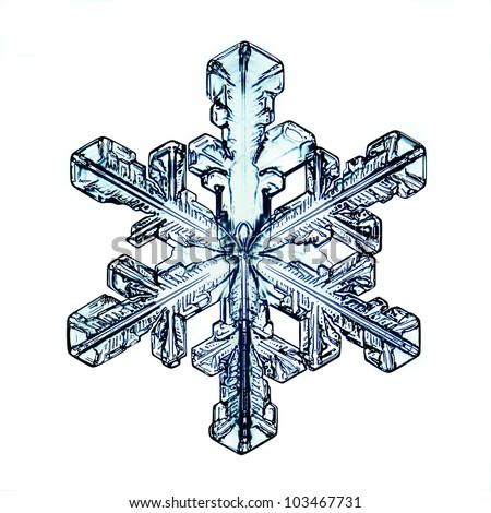 Snowflake on white background natural - stock photo