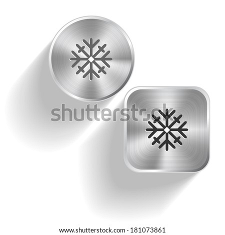 Snowflake. Raster set steel buttons - stock photo