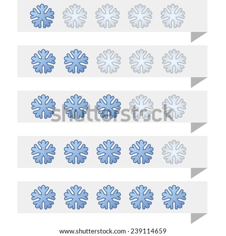 Snowflake shape ranking tags template. - stock photo
