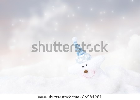 Snowflake toy against the bokeh background - stock photo