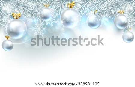 Snowflakes and Christmas tree baubles hanging from a Christmas tree background. - stock photo