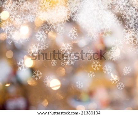 Snowflakes and lights background - stock photo