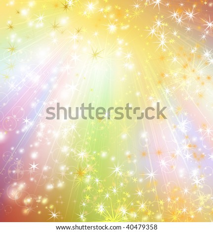 snowflakes and stars descending on a path of  light - stock photo