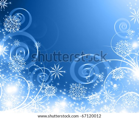 snowflakes and stars descending on background - stock photo